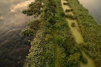 Peene river and flooded lands near Anklamer Stadtbruch, Peene river, Anklam, Germany