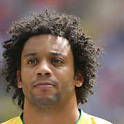 Marcelo, Brazil, during the Brazil V Mexico Gold Medal Men's Football match at Wembley Stadium during the London 2012 Olympic games. London, UK. 11th August 2012. Photo Tim Clayton