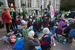 London, UK. 9 October, 2019. Climate activists from Extinction Rebellion block Birdcage Walk on the third day of International Rebellion protests to demand a government declaration of a climate and ecological emergency, a commitment to halting biodiversity loss and net zero carbon emissions by 2025 and for the government to create and be led by the decisions of a Citizens' Assembly on climate and ecological justice.