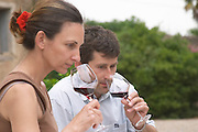 Christophe Blanc and his wife Chateau de Montpezat. Pezenas region. Languedoc. Owner winemaker. Tasting wine. France. Europe.