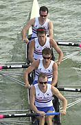 Seville, Andalusia, SPAIN<br /> <br /> 2002 World Rowing Championships - Seville - Spain Sunday 15/09/2002.<br /> <br /> Rio Guadalquiver Rowing course<br /> <br /> GBR LM4-<br /> Ben Webb, Mark Hunter, Michael Hennessy and John Warnock.<br /> <br /> [Mandatory Credit:Peter SPURRIER/Intersport Images]
