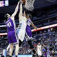06 March 2017: Denver Nuggets forward Danilo Gallinari (8) goes for the dunk against Sacramento Kings center Willie Cauley-Stein (00) and Sacramento Kings center Kosta Koufos (41) during the Denver Nuggets 108-96 victory over the Sacramento Kings, at the Pepsi Center, Denver, Colorado, USA.