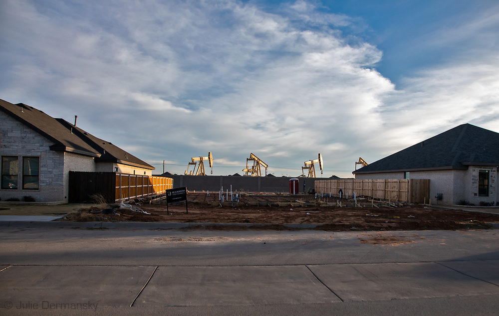 Blackbrush home & construction site that is being developed in pump jacks in Midland, Texas.