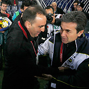 Fenerbahce's coach Aykut Kocaman (R) and Besiktas's coach Carlos Carvalhal (L) during their Turkish superleague soccer derby match Fenerbahce between Besiktas at Sukru Saracaoglu stadium in Istanbul Turkey on Sunday 05 February 2012. Photo by TURKPIX