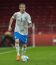 Birkir Sævarsson (Island) under kampen i Nations League mellem Danmark og Island den 15. november 2020 i Parken, København (Foto: Claus Birch).