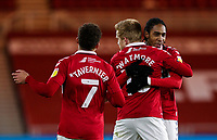 Middlesbrough's Duncan Watmore celebrates scoring the opening goal with Djed Spence and Marcus Tavernier<br /> <br /> Photographer Alex Dodd/CameraSport<br /> <br /> The EFL Sky Bet Championship - Middlesbrough v Swansea City - Wednesday 2nd December 2020 - Riverside Stadium - Middlesbrough<br /> <br /> World Copyright © 2020 CameraSport. All rights reserved. 43 Linden Ave. Countesthorpe. Leicester. England. LE8 5PG - Tel: +44 (0) 116 277 4147 - admin@camerasport.com - www.camerasport.com