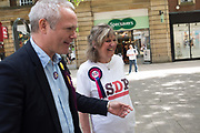 RICHARD BRAINE, UKIP party campaigning in Peterborough before the byelection caused by the jailing of the local MP for a lying about a speeding offense.  1 June 2019
