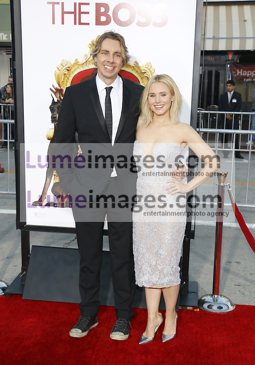 Kristen Bell and Dax Shepard at the Los Angeles premiere of 'The Boss' held at the Regency Village Theatre in Westwood, USA on March 28, 2016.