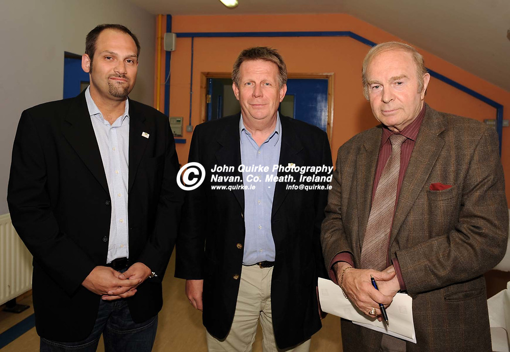 29-05-08. Launch of the 14th. IRF World Racquetball Championships to be held at Kingscourt on August 1st - 10th. 2008.<br /> L to R: Mike Mesecke, Erik Meyer and Patsie McArdle.<br /> Photo: John Quirke / www.quirke.ie<br /> ©John Quirke Photography, Unit 17, Blackcastle Shopping Cte.<br /> Navan. Co. Meath. 046-9079044 / 087-2579454.