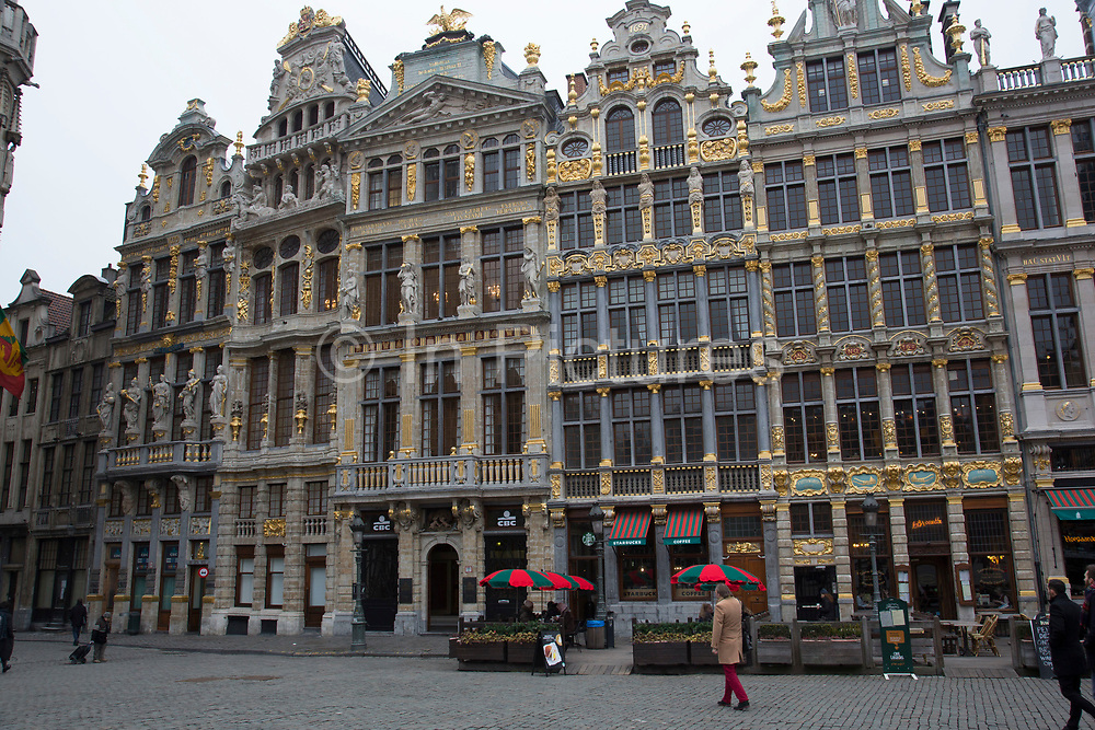 Scene on the Grand Place of the Brussels Town Hall on 30th January 2017 in Brussels, Belgium. The Town Hall or Hotel de Ville is a Gothic building from the Middle Ages. It is located on the famous Grand Place in Brussels.