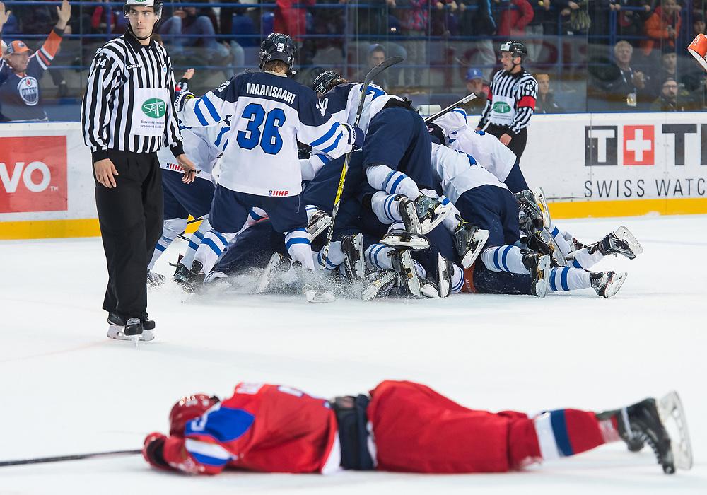 POPRAD, SLOVAKIA - APRIL 22: Finland vs Russia semifinal round 2017 IIHF Ice Hockey U18 World Championship. (Photo by Steve Kingsman/HHOF-IIHF Images)
