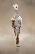 Female Cycladic statue figurine with folded arms of the Spedos and Dokathismata type. Early Cycladic Period II (2800-3200) from Amorgos. National Archaeological Museum, Athens. <br /> <br /> This Cycladic statue figurine is of the Spedos type standing on tip tie with bended knees and arms folded under the breasts with head raiised. This staue belongs to the Dokathismata type of Amorgos with an angular face, wide chest and slender outline. .<br /> <br /> If you prefer to buy from our ALAMY PHOTO LIBRARY  Collection visit : https://www.alamy.com/portfolio/paul-williams-funkystock/cycladic-art-artefacts.html Type into the LOWER SEARCH WITHIN GALLERY box to refine search by adding background colour, place, museum etc<br /> <br /> Visit our CYCLADIC CIVILISATIONS PHOTO COLLECTIONS for more photos to download or buy as wall art prints https://funkystock.photoshelter.com/gallery-collection/Cycladic-civilisation-Ancient-Greek-Artefacts-art-Photos-Pictures-Images/C0000CmevVvnC.XU
