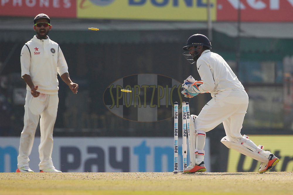 Parthiv Patel of India tries to stumping during day 1 of the third test match between India and England held at the Punjab Cricket Association IS Bindra Stadium, Mohali on the 26th November 2016.<br /> <br /> Photo by: Deepak Malik/ BCCI/ SPORTZPICS