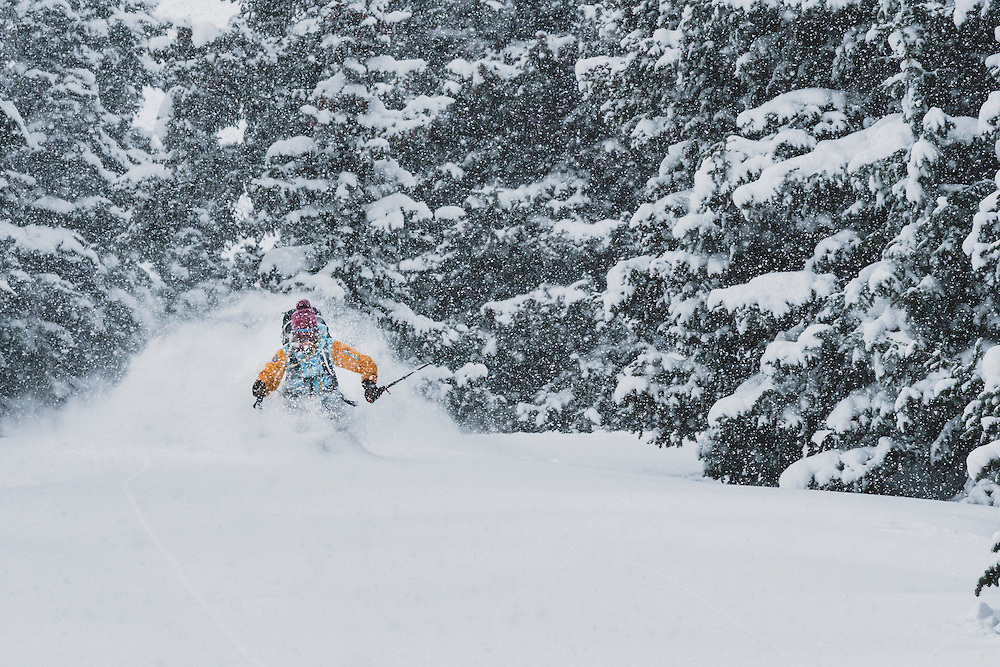 Sammy Podhurst exploring Marble Bowl on skis, Colorado.