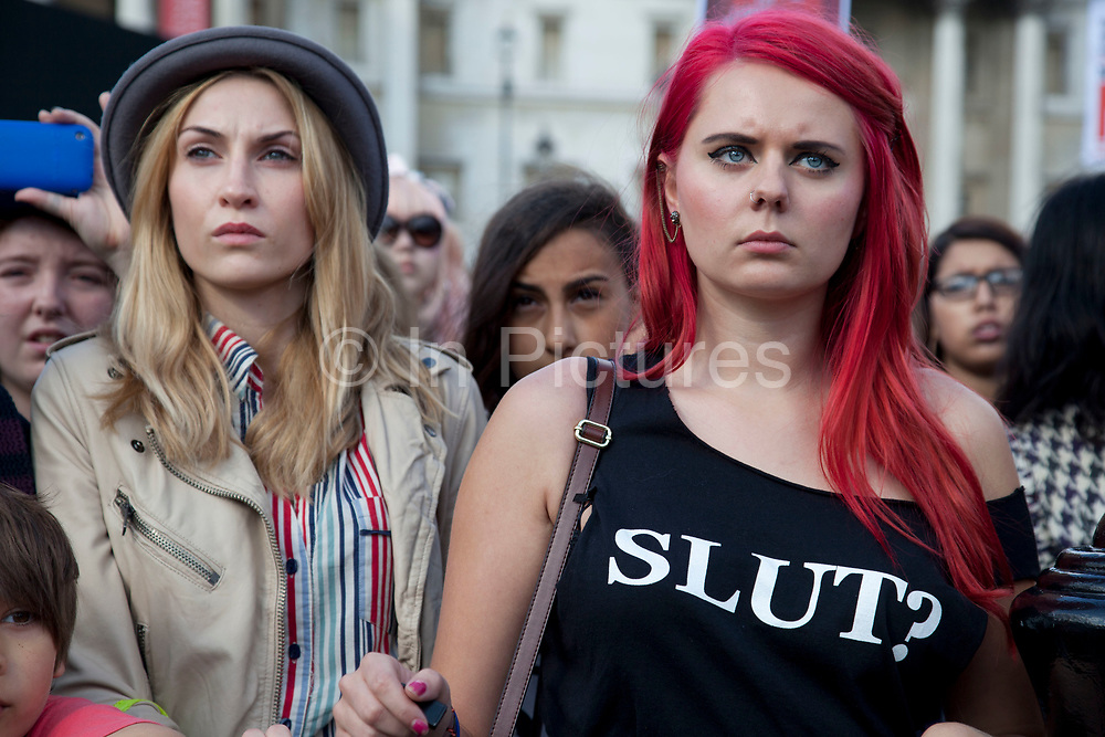 London, UK. Saturday 22nd September 2012. Slutwalk London march / demonstration for female empowerment. Slutwalk is a movement whose message is that nobody deserves to be raped. On 24th January 2011, a Toronto policeman told a group that in order to avoid being raped 'women should avoid dressing like sluts'. This sparked outrage around the globe, with sluts and allies standing up and saying that they had had enough of being victimised and labelled. The rally was organised by Slut Means Speak Up, a campaign to tell the world that rape is never, ever the fault of the victim.