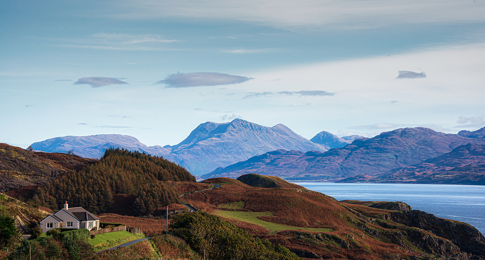 Someone rises to this view over the Sound of Sleat from Skye to the mainland and the mountains of Glenelg.