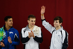 Ross Haslam of City of Sheffield Diving Club is introduced ahead of the Mens 3m Springboard Final - Photo mandatory by-line: Rogan Thomson/JMP - 07966 386802 - 21/02/2015 - SPORT - DIVING - Plymouth Life Centre, England - Day 2 - British Gas Diving Championships 2015.