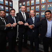 CANASTOTA, NY - JUNE 10:  Inductees Winky Wright, Steve Albert, Vitali Klitschko, Jim Gray and Eric Morales pose with their rings at the International Boxing Hall of Fame for the Weekend of Champions induction events on June 10, 2018 in Canastota, New York. (Photo by Alex Menendez/Getty Images) *** Local Caption *** Winky Wright; Steve Albert; Vitali Klitschko; Jim Gray; Eric Morales