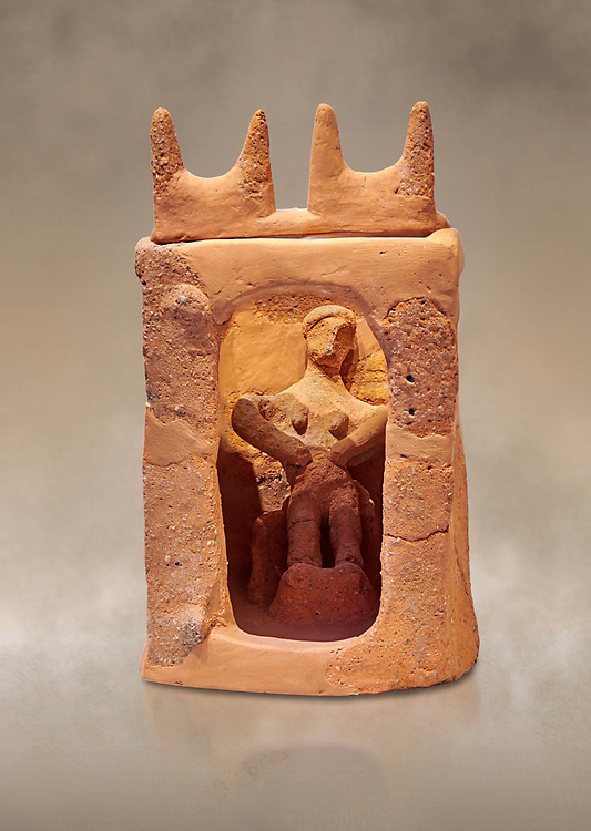 Minoan clay model shrine depicting a priestess playing the part of a goddess in a small single roomed house, Galatas 1700-1650 BC; Heraklion Archaeological  Museum. .<br /> <br /> If you prefer to buy from our ALAMY PHOTO LIBRARY  Collection visit : https://www.alamy.com/portfolio/paul-williams-funkystock/minoan-art-artefacts.html . Type -   Heraklion   - into the LOWER SEARCH WITHIN GALLERY box. Refine search by adding background colour, place, museum etc<br /> <br /> Visit our MINOAN ART PHOTO COLLECTIONS for more photos to download  as wall art prints https://funkystock.photoshelter.com/gallery-collection/Ancient-Minoans-Art-Artefacts-Antiquities-Historic-Places-Pictures-Images-of/C0000ricT2SU_M9w