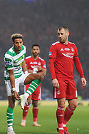 Scott Sinclair and Niall McGinn during the Betfred Cup Final between Celtic and Aberdeen at Hampden Park, Glasgow, United Kingdom on 2 December 2018.