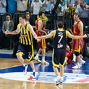 Fenerbahce's Darjus LAVRINOVIC (L) during their Turkish Basketball Legague Play-Off final fifth match Fenerbahce between Galatasaray at the Sinan Erdem Arena in Istanbul Turkey on Tuesday 14 June 2011. Photo by TURKPIX
