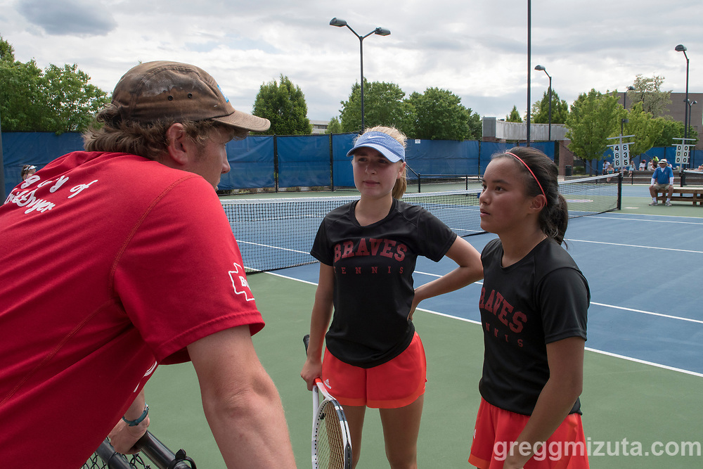 Reid Spain-Strombom, Greta Walser, Jennifer Wong. Idaho High School State Tennis Championships on May 20, 2017 at Boise State University's Appleton Tennis Complex, Boise, Idaho. <br /> <br /> Boise's girls doubles team of Jennifer Wong and Greta Walser won a thriller over Borah's Cassidy Binder and Madeline Krausteam, 6-4, 3-6, 7-6 (10-8) to claim the 5A girls doubles title.