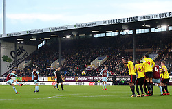 Burnley's Johann Berg Gudmundsson hits a freekick towards goal during the Premier League match at Turf Moor, Burnley.