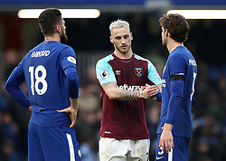 Chelsea's Olivier Giroud (left) and Marcos Alonso (right) shake hands with West Ham United's Marko Arnautovic after the final whistle