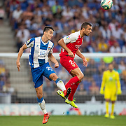 BARCELONA, SPAIN - August 18: Oliver Torres #21 of Sevillaand Fernando Calero #24 of Espanyol challenge for the ball during the Espanyol V  Sevilla FC, La Liga regular season match at RCDE Stadium on August 18th 2019 in Barcelona, Spain. (Photo by Tim Clayton/Corbis via Getty Images)