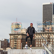 Basketball Life:  Rooftop shoot with basketball player, Damon Harvin in Downtown Los Angeles, California on January 30, 2018.  ©Michael Der, All Rights Reserved.  Please contact Michael Der for all licensing requests.