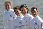 Reading, GREAT BRITAIN, GBR W4X, left to right Frances HOUGHTON, Annie VERNON, Katherine GRAINGER and Debbie FLOOD, line up for a photo after the GB Rowing 2007 FISA World Cup Team Announcement, at the GB Training centre, Caversham, England on Thur. 26.04.2007  [Photo, Peter Spurrier/Intersport-images]..... , Rowing course: GB Rowing Training Complex, Redgrave Pinsent Lake, Caversham, Reading
