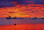 Ice floes on Hudson Bay at sunset<br /> Churchill<br /> Manitoba<br /> Canada