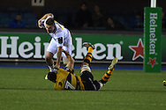 Harry Sloan of Harlequins is tackled by Ellis Jenkins of the Cardiff Blues. European Rugby challenge cup match, Cardiff Blues v Harlequins at the BT Sport Cardiff Arms Park in Cardiff, South Wales onThursday 19th November 2015. pic by Andrew Orchard, Andrew Orchard sports photography.