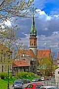 Widok z Placu Lasoty w kierunku kościoła św. Józefa w Krakowie, Polska<br /> View from Lasote Square towards St. Joseph church in Cracow, Poland
