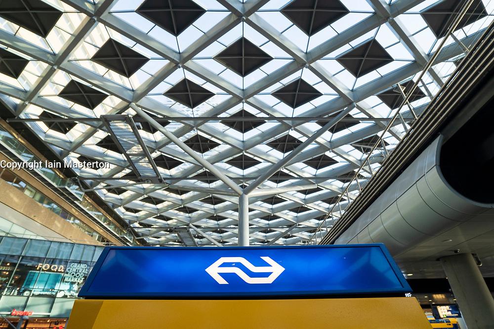Ticket machine of Dutch Railways at Den Haag Centraal railway station in The Hague, Netherlands