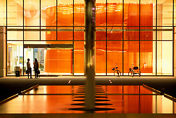 Stock photo of the interior lobby of a downtown office building