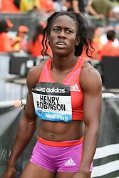 women's 200 meters, Samantha Henry-Robinson, JAM, post race