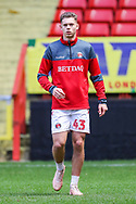 Charlton Athletic defender Toby Stevenson (43) warms up prior to the The FA Cup 2nd round match between Charlton Athletic and Doncaster Rovers at The Valley, London, England on 1 December 2018. Photo by Toyin Oshodi