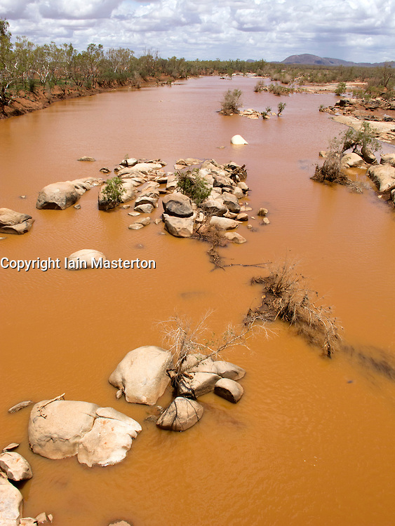 Ashburton River in outback  Western Australia with water after rare rainfall