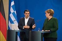 DEU, Deutschland, Germany, Berlin, 16.12.2016: Der griechische Ministerpräsident Alexis Tsipras und Bundeskanzlerin Dr. Angela Merkel (CDU) bei einer Pressekonferenz im Bundeskanzleramt.