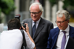 © Licensed to London News Pictures. 03/07/2017. London, UK. Former group chief executive of Barclays JOHN VARLEY (centre) arrives at Westminster Magistrates Court in London where he is charged with conspiracy to commit fraud. Barclays executives John Varley, Roger Jenkins, Thomas Kalaris and Richard Boath were charged by the Serious Fraud Office following events that took place at the height of the financial crisis, when Barclays avoided a taxpayer bailout by raising £11. 8bn in emergency funds from a number of major investors, including Qatar. Photo credit: Ben Cawthra/LNP