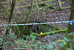 "© Licensed to London News Pictures. 07/12/2019. Gerrards Cross, UK. An evidence identification marker sits on the edge of a concrete pit as London's Metropolitan Police Service searches woodland in Gerrards Cross, Buckinghamshire. Police have been in the area conducting operations since Thursday 5th December 2019 and are searching two areas on Hedgerley Lane. In a press statement a Metropolitan Police spokesperson said ""Officers are currently in the Gerrards Cross area of Buckinghamshire as part of an ongoing investigation.<br /> ""We are not prepared to discuss further for operational reasons.""<br /> Photo credit: Peter Manning/LNP"