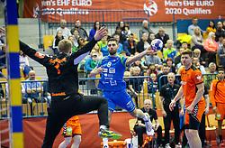 14-04-2019 SLO: Qualification EHF Euro Slovenia - Netherlands, Celje<br /> Bart Ravensbergen of Netherlands vs Blaz Janc of Slovenia during handball match between National teams of Slovenia and Netherlands in Qualifications of 2020 Men's EHF EURO