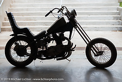 Buddy Reveile's personal chopper (Bud's Motorcycle Shop - Austin, TX) on set-up day at the Handbuilt Motorcycle Show. (Bud passed away just days ago.) Austin, TX. April 9, 2015.  Photography ©2015 Michael Lichter.