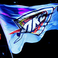 08 May 2016: Close view of Oklahoma City Thunder flag prior to the Oklahoma City Thunder 111-97 victory over the San Antonio Spurs, during Game Four of the Western Conference Semifinals of the NBA Playoffs at the Chesapeake Energy Arena, Oklahoma City, Oklahoma, USA.