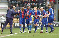 Photo: Leigh Quinnell.<br /> Derby County v Crystal Palace. Coca Cola Championship. 25/03/2006. Palaces' Clinton Morrison is congratulated by his team and manager Ian Dowie after his goal.
