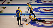 """Glasgow. SCOTLAND. Sweden's, Niklas EDIN, moving towards the """"Hog Line to guide his """"Stone"""" across the line during the, Le Gruyère European Curling Championships. 2016 Venue, Braehead  Scotland<br /> Sunday  20/11/2016<br /> <br /> [Mandatory Credit; Peter Spurrier/Intersport-images]"""