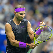 2019 US Open Tennis Tournament- Day Eight.  Rafael Nadal of Spainreacts during his match against Marin Cilic of Croatia in the Men's Singles round four match on Arthur Ashe Stadium during the 2019 US Open Tennis Tournament at the USTA Billie Jean King National Tennis Center on September 2nd, 2019 in Flushing, Queens, New York City.  (Photo by Tim Clayton/Corbis via Getty Images)