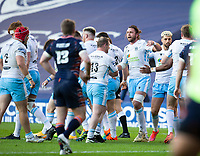 Rugby Union - 2021 Guinness Pro14 Rainbow Cup - Northern Group - Edinburgh vs Glasgow Warriors - Murrayfield<br /> <br /> Matt Fagerson of Glasgow Warriors scores a try<br /> <br /> Credit : COLORSPORT/BRUCE WHITE