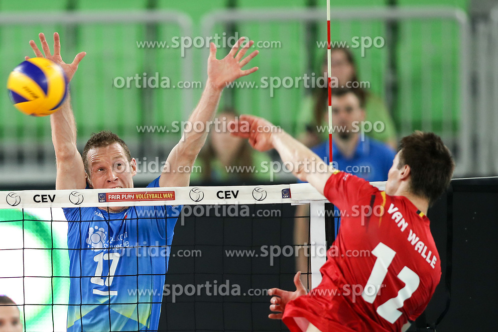Gert Van Walle of Belgium vs Tine Urnaut of Slovenia during volleyball match between National teams of Slovenia and Belgium in 2nd Round of 2018 FIVB Volleyball Men's World Championship qualification, on May 28, 2017 in Arena Stozice, Ljubljana, Slovenia. Photo by Morgan Kristan / Sportida